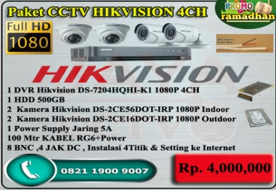 Paket CCTV HIKVISION TURBO HD 4CH ORI