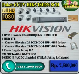 Paket CCTV HIKVISION TURBO HD 8CH ORI